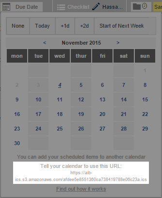 Find your unique url at the bottom of the reminder calendar box.